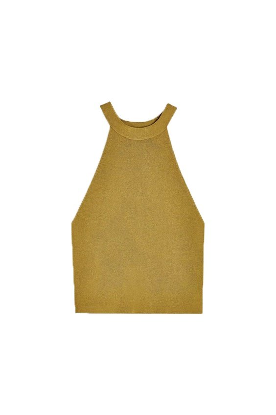 topshop ribbed tank top in olive