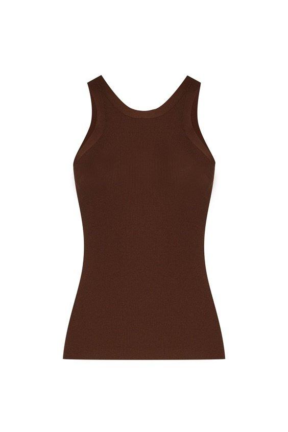 toteme knit tank dark brown