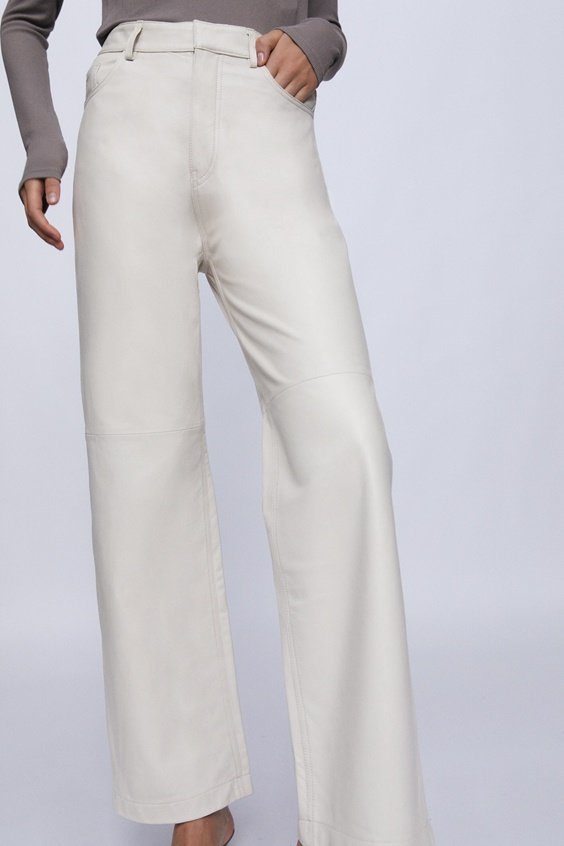 loose fit leather pants in white