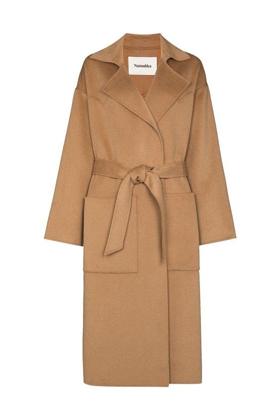 camel wool coat nanushka