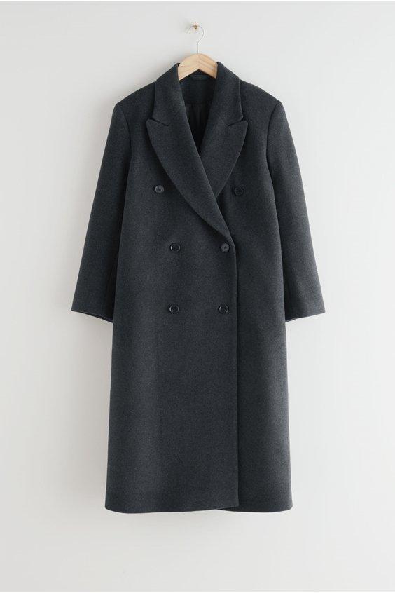 winter coat double breasted grey coat