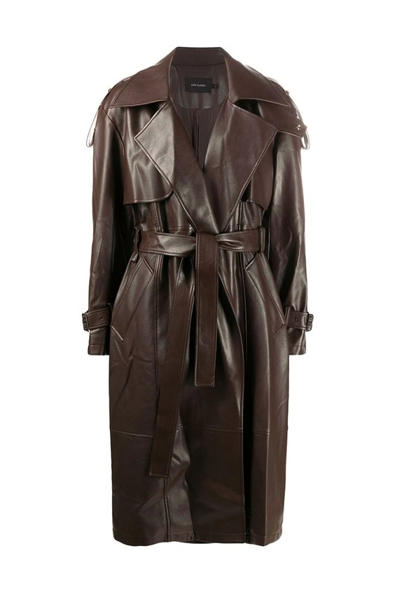 faux leather chocolate trench coat
