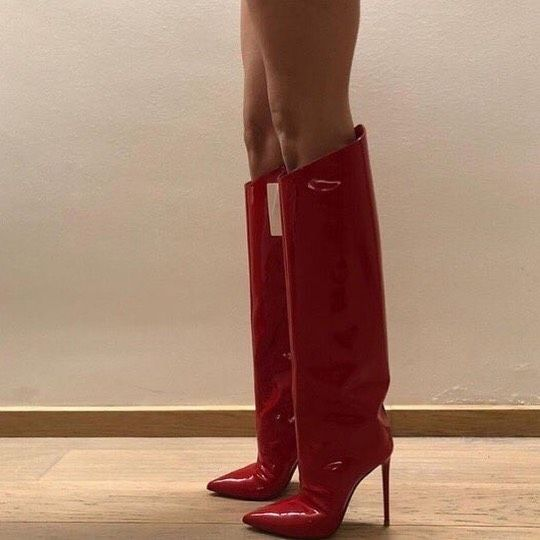 red laquered knee high boots