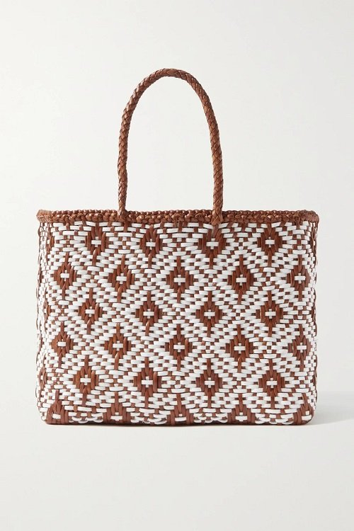 dragon difussion brown and white woven leather tote