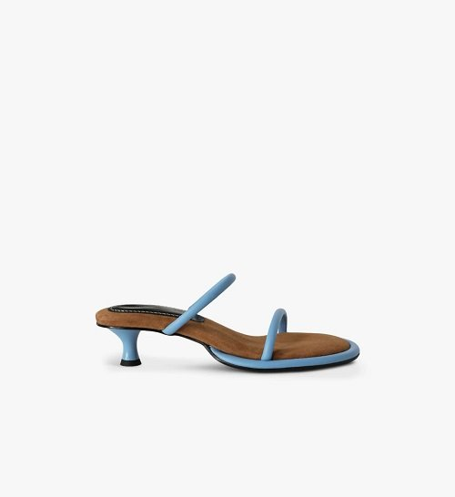 proenza schouler pipe strappy sandals in blue and brown