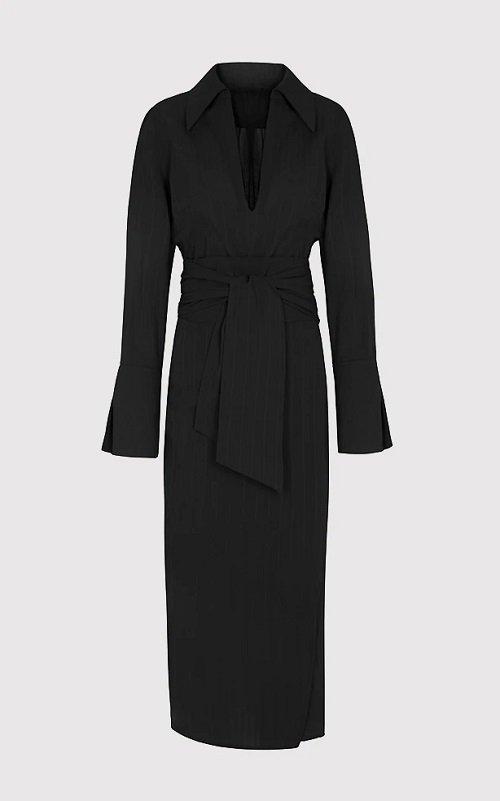 black collared kimono style dress