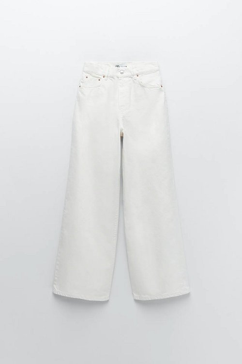 zara wide legged white jeans