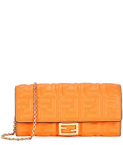 Fendi orange logo wallet on chain