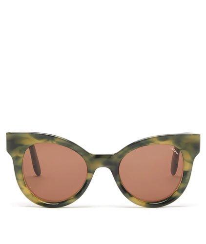 Lapima ana oversized green cat-eye Sunglasses Spring Summer 2021