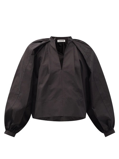 jil sander black v neck blouse