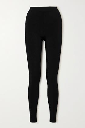 paneled stretch-knit black leggings
