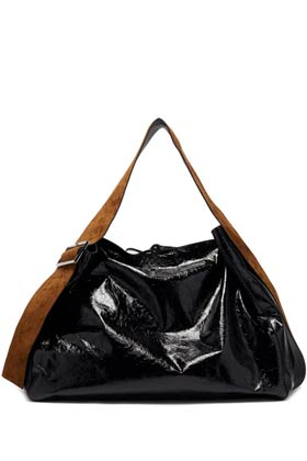 gloss black leather tote bag with brown suede detailing