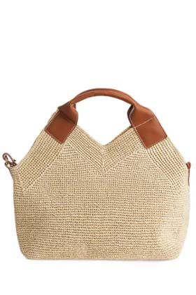 straw tote with brown detailing