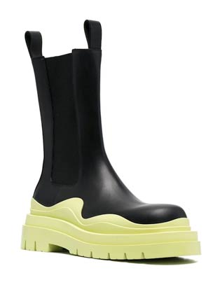 leather black ankle combat boots with abstract light green rubber sole