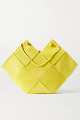 lime green square suede and leather tote bag