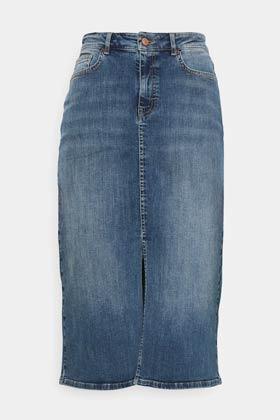allykraw summer wardrobe staples denim midi skirt
