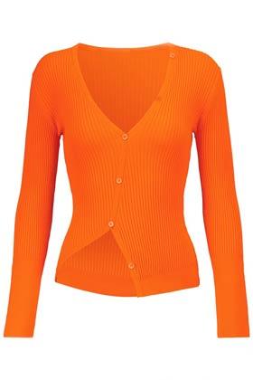 allykraw summer staples jacquemus orange cardigan