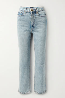 khaite classic high rais straight-leg jeans in light blue