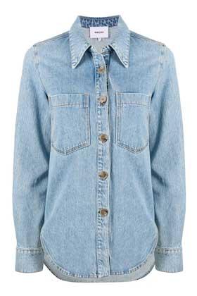 light blue loose fit denim shirt