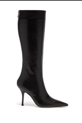 black leather knee high boots with pointy toes and stiletto heel