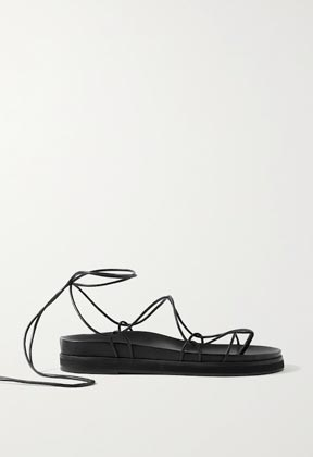 black leather chunky soles sandals