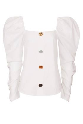 puff sleeves square neck collarless white cotton shirt with colourful buttons