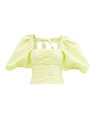 light lime green balloon sleeve top