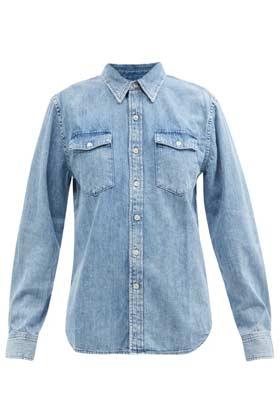 flap pocket long sleeve denim shirt in light blue colour