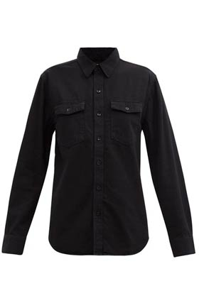 black collared denim shirt with long sleeves