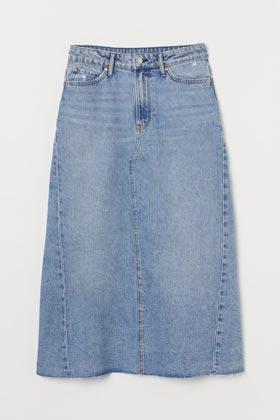 ultimate summer wardrobe staples hm denim a line midi skirt