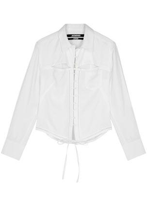 jacquemus white cut out shirt