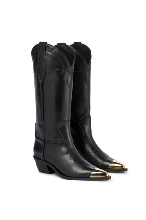 leather western boots with gold metallic toe tip