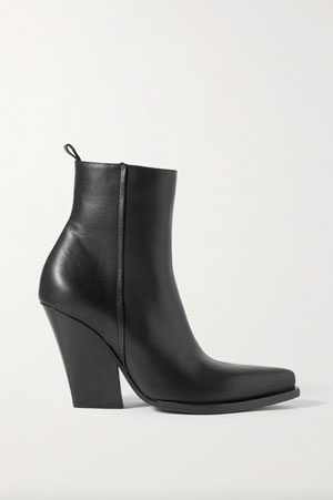 leather ankle boots in black