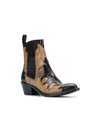 washed cowboy ankle boots in black and beige