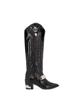 high knee western boot with metal detailing