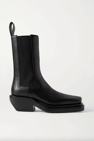 black leather cowboy boots with chunky sole