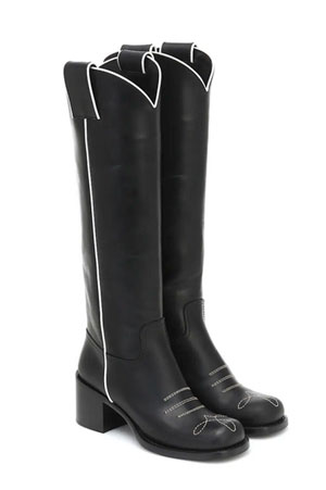 miu miu black western high boots with subtle white detailing