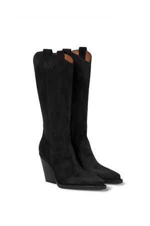 black suede high western boots