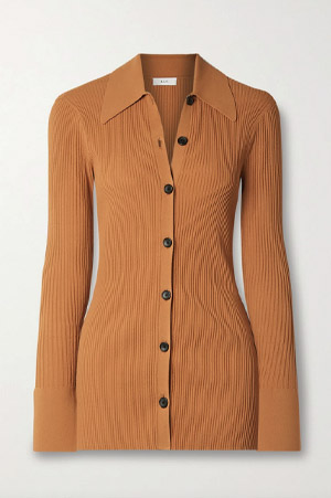 A.C.L. Camel Collared cardigan with black buttons