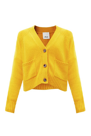 Autumn-Winter 2021 trends yellow cashmere cardigan by Allude