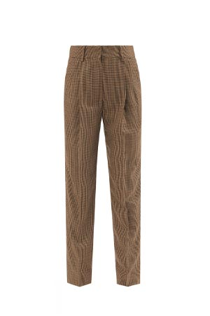 banker houndstooth wool trousers