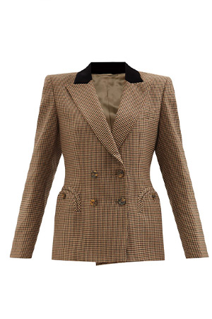 Autumn-Winter trends 2021 houndstooth double-breasted wool blazer