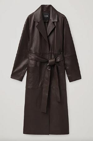 leather trench coat in brown