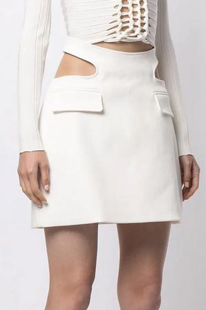 Dion Lee white mini skirt with cutouts on the side of the waist