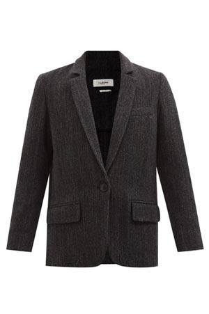 single breasted wool herringbone blazer in deep charcoal
