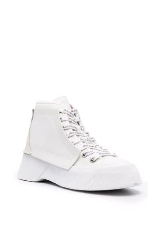logo-print white leather ankle boots