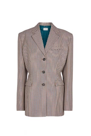 Houndstooth wool and cotton blazer