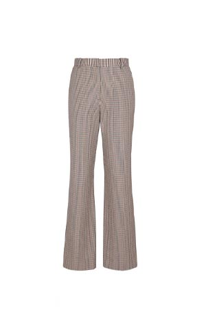 houndstooth wool and cotton straight leg trousers