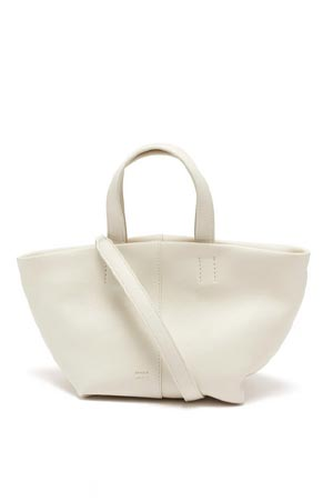 white/ivory leather tote