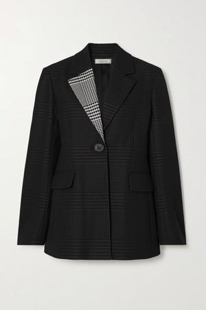 black checked blazer with grey collar accent